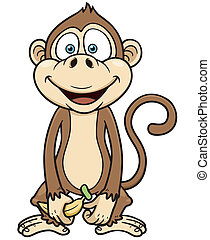 Monkey - Vector illustration of cartoon monkey with banana