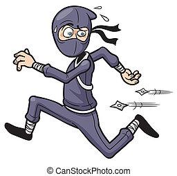 Ninja running - Vector illustration of Cartoon Ninja running