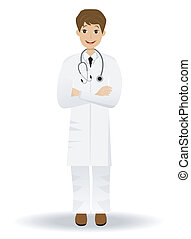 young doctor man on a white background, vector illustration