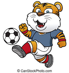 Soccer player - Vector illustration of Soccer tiger player
