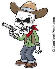 Cowboy zombie - Vector illustration of Cartoon cowboy zombie