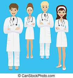 group young doctor on white background, vector illustration