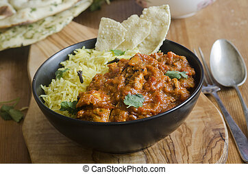 Jalfrezi with rice - Jalfrezi Indian chicken curry with...