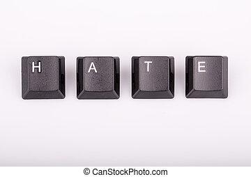 texto, ódio, formado, computador, teclado, teclas,...