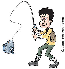 Fishing - Vector illustration of Cartoon man fishing