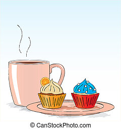 Afternoon snack with cupcakes - Vector illustration :...