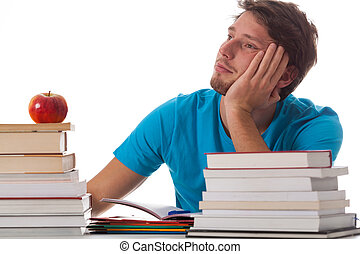 Distracted student in library on isolated background
