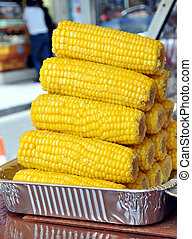 Corn cobs being displayed at street market