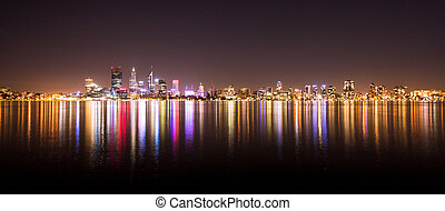 Panorama of Perth city skyline at night
