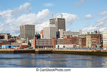 City of St Johns from the Sea - View of downtown St Johns,...