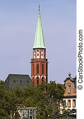 Nicolai Church in Frankfurt - Tower of the old Nikolai...