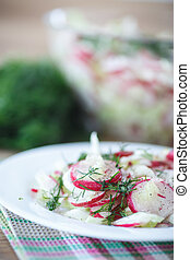 spring salad with radishes and cabbage on a plate
