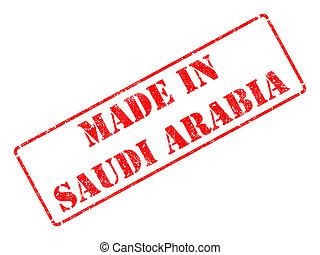 feito, Saudita, Arábia, -, inscrição, vermelho, borracha,...