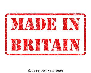 feito, Inglaterra, -, inscrição, vermelho, borracha, selo