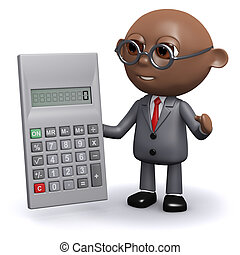 3d African American businessman does the sums - 3d render of...