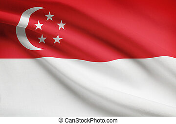 Series of ruffled flags. Republic of Singapore. -...