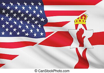 Series of ruffled flags USA and Northern Ireland - USA and...