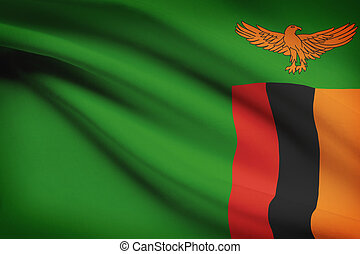 Series of ruffled flags Republic of Zambia - Zambian flag...