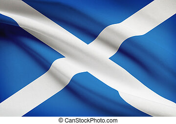 Series of ruffled flags Scotland - Scottish flag blowing in...