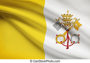 Series of ruffled flags. Vatican City State. - Vatican City...
