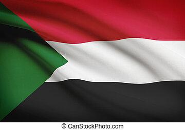 Series of ruffled flags Republic of the Sudan - Sudanese...
