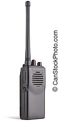two-way radio on white background clipping path