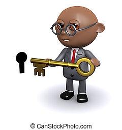 3d African American unlocks the door - 3d render of an...