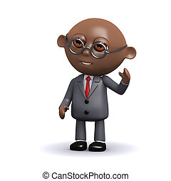 3d African American businessman waves hello - 3d render of...