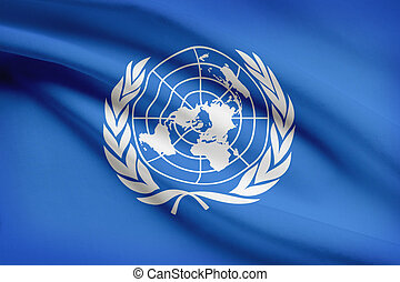 Series of ruffled flags. United Nations. UN. - United...