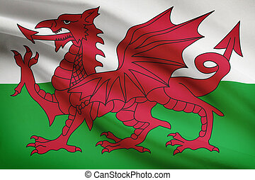Series of ruffled flags. Wales. - Welsh flag blowing in the...