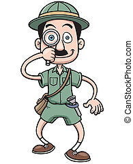 Safari man - Vector illustration of Cartoon Safari man...