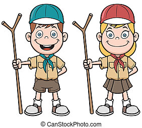 Scout kids - Vector illustration of Scout kids