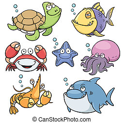 Sea Animals - Vector illustration of Sea Animals Collection