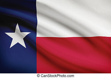 Series of ruffled flags State of Texas - Texan flag blowing...