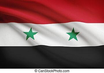 Series of ruffled flags Syrian Arab Republic - Syrian flag...