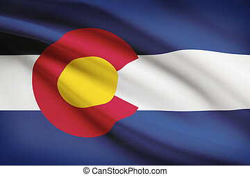 Series of ruffled flags. State of Colorado. - State of...