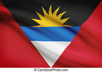 Series of ruffled flags. Antigua and Barbuda.