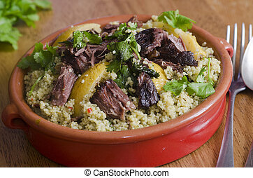 Beef Tagine - Traditional Moroccan beef tagine with couscous