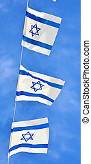 Israel Flag chain on Independence Day - Israel flags in a...