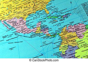 central, América, Caribe, mapa