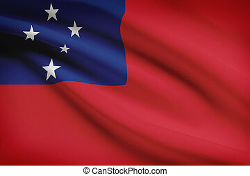 Series of ruffled flags. Independent State of Samoa. -...