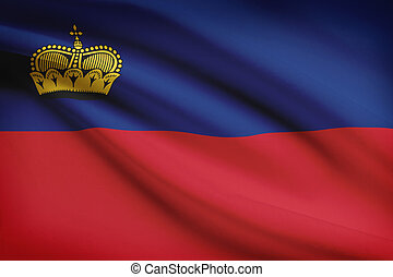 Series of ruffled flags Principality of Liechtenstein -...