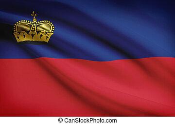 Series of ruffled flags. Principality of Liechtenstein. -...
