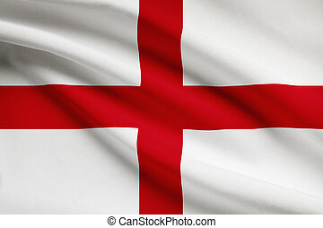 Series of ruffled flags England - English flag blowing in...