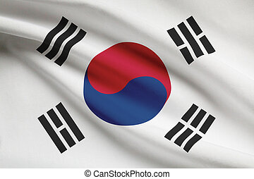 Series of ruffled flags Republic of Korea - South Korean...