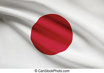 Series of ruffled flags Japan - Japanese flag blowing in the...