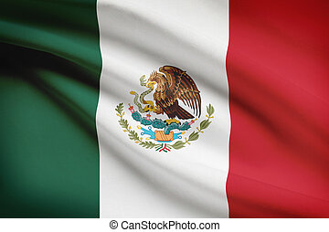Series of ruffled flags United Mexican States - Mexican flag...