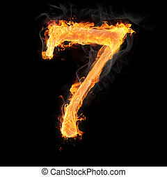 Numbers and symbols on fire - Burning numbers on black...