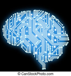 Circuit board in human brain form. Technological...
