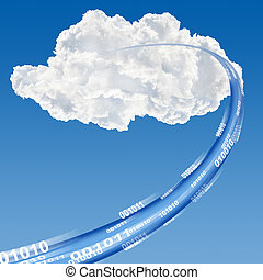Cloud data base concept - Ethernet-LAN cable reaching cloud...